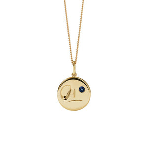 9ct Yellow Gold Dark Blue Sapphire Miro Necklace