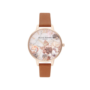 Marble Floral Tan & Rose Gold Watch