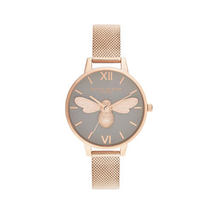 Lucky Bee Grey Dial with Rose Gold Mesh