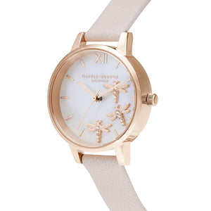Dancing Dragonfly Mother Of Pearl Dial Rose Gold