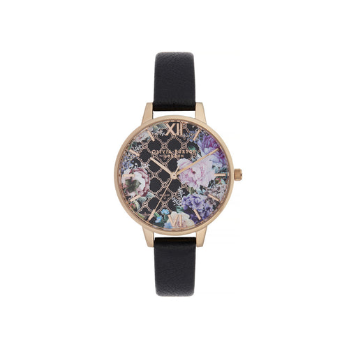 Glass House Black & Rose Gold Watch