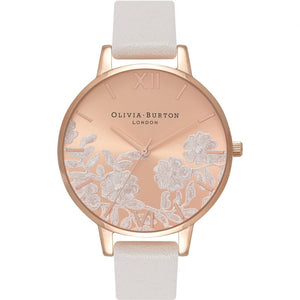 Lace Detail Collection  Rose Gold Case Grey Watch