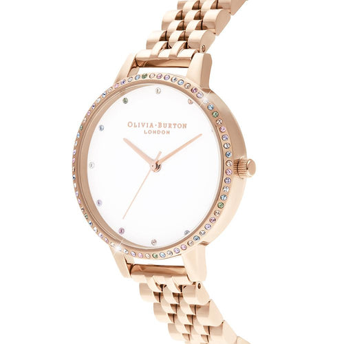 Rainbow Bezel & Rose Gold Watch