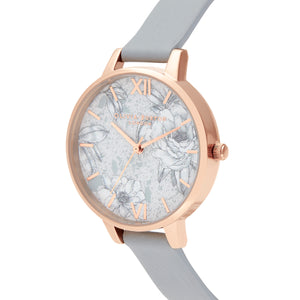 Terrazzo Florals Eco Light Grey & Rose Gold Watch