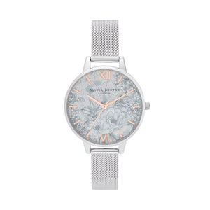 Terrazzo Florals Rose Gold & Silver Mesh Watch
