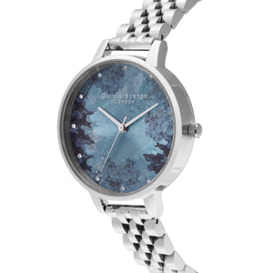 Under The Sea Coral Crystal Silver Watch