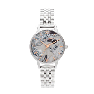 Abstract Florals Silver Bracelet Watch