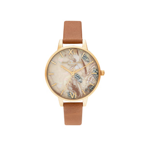 Abstract Florals Tan Gold Watch