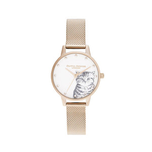 Pearly Kitten Rose Gold Mesh Watch