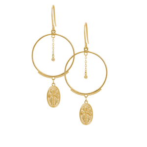 Gold Plated Palm Coin Earrings