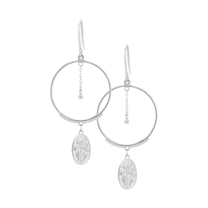 Silver Palm Coin Earrings