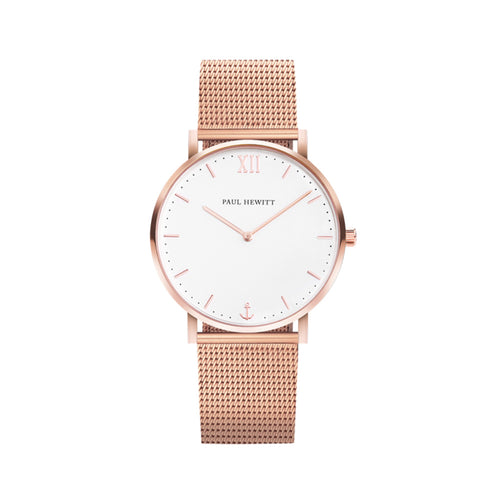 Sailor Rose Gold Tone White Sand Mesh 39mm Watch