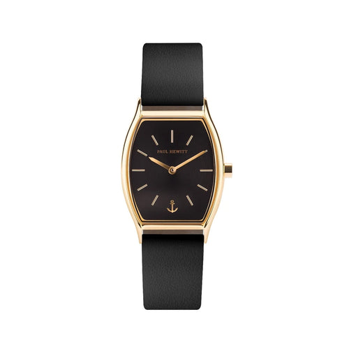 Modern Edge Black Sunray Gold Leather Watch