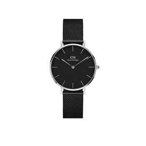 Petite Ashfield Black Mesh 32mm Silver Watch