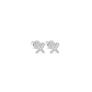 Silver Kisses Studs - Love
