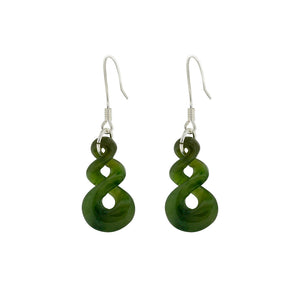 NZ Greenstone Double Twist 20mm Earrings