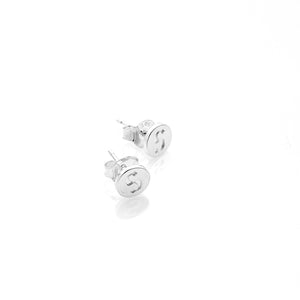 Silver S-Logo Cap Earrings