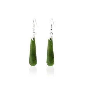 NZ Greenstone Silver Drop Earrings 33mm