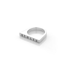 Sterling Silver Thick Strip Ring- Onyx