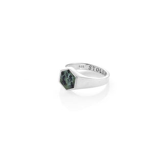 Sterling Silver Mini Serpent Society Ring- Jade