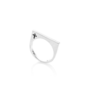 Sterling Silver Thin Strip Ring- Onyx
