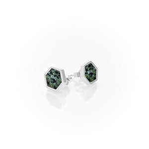 Sterling Silver Society Stud Earrings / Jade