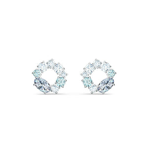 Attract Circle Stud Pierced Earrings - White Rhodium Plated