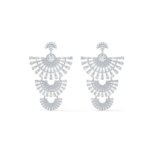 Sparkling Dance Dial Up Pierced Earrings - White Rhodium Plated