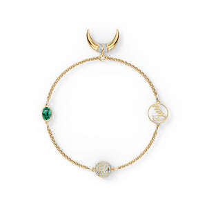 Remix Horn Strand Bracelet - Green Yellow Gold Plated