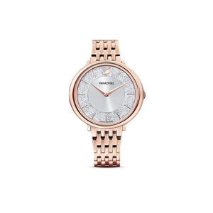 Crystalline Chic Metal Bracelet Watch - Rose Gold Plated