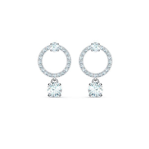 Attract Circle Pierced Earrings - White Rhodium Plated