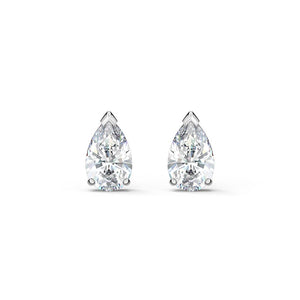 Attract Pear Stud Pierced Earrings - White Rhodium Plated