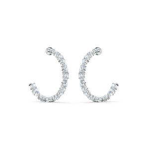 Tennis Deluxe Mixed Hoop Earrings - White Rhodium Plated