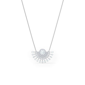 Sparkling Dance Dial Up Necklace Short- White Rhodium Plated