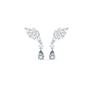 Tennis Deluxe Cluster Mixed  Earrings - White Rhodium Plated
