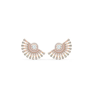 Sparkling Dance Dial Up Pierced Earrings - Grey Rose Gold Plated