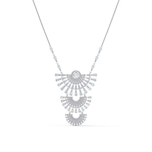 Sparkling Dance Dial Up Necklace Large- White Rhodium Plated