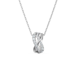 Twist Rows Pendant - White Rhodium Plated