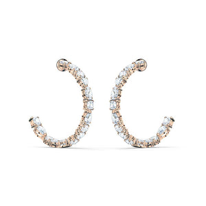 Tennis Deluxe Mixed Hoop Earrings - Rose Gold Plated White