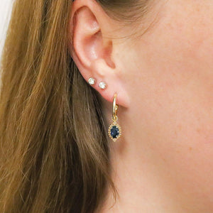 9ct Yellow Gold Emery Sapphire Earrings
