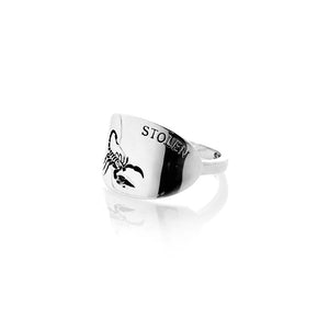 Silver Scorpion Oval Ring