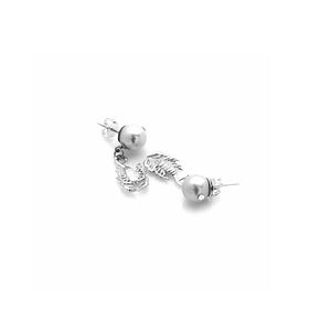 Silver Scorpion Pearl Earrings