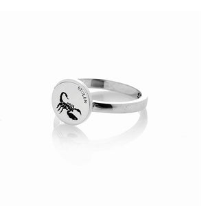 Silver Scorpion Plate Ring Mini