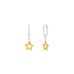 Sterling Silver/Gold Plated Super Star Huggie Earrings