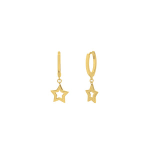 Gold Plated Super Star Huggie Earrings