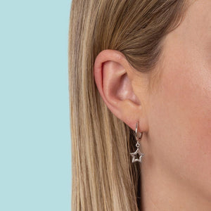 Sterling Silver Super Star Huggie Earrings