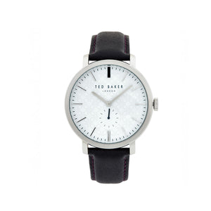 Silver White Black Leather Watch