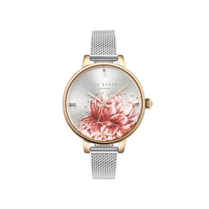 Silver Rose Gold Red Floral Mesh Watch