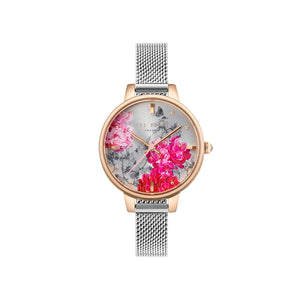 Silver Rose Gold Pink Floral Mesh Watch