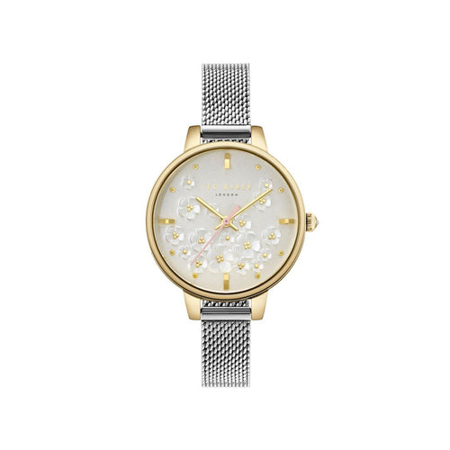White Gold Floral Silver Mesh Watch
